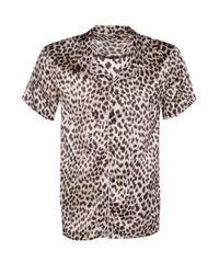 Boohoo Brown Short Sleeve Leopard Print Revere Collar Shirt for men