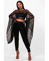 Boohoo Black Extreme Sleeve Lace Low Back Crop