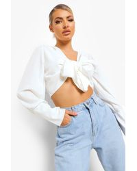 Boohoo White Volume Sleeve Knot Front Blouse