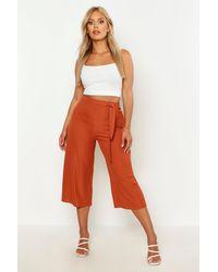 Plus Jupe-Culotte Côtelée Ceinture En Tissu Assorti Boohoo en coloris Orange