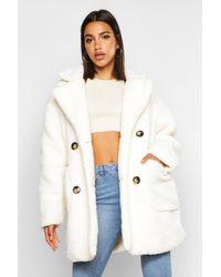 Boohoo Multicolor Teddy Faux Fur Double Breasted Coat