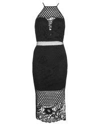 Boohoo Black Boutique Alia Lace Border Hem Midi Dress