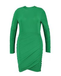 Boohoo Green Plus Slinky Rouched Bodycon Dress