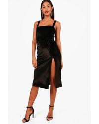 Boohoo Black Billie Velvet Strappy Split Leg Midi Dress