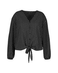 Boohoo Black Plus Diamond Print Tie Front Blouse