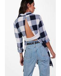 Boohoo Blue Keira Check Open Back Shirt