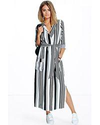 Boohoo Black Striped Maxi Shirt Dress