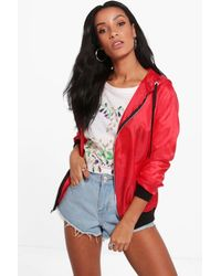 Boohoo Red Lucy Hooded Lightweight Festival Bomber