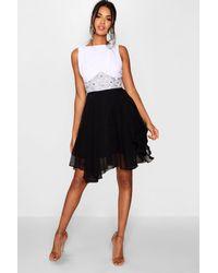 Boohoo Black Boutique Flower Detail Contrast Prom Dress