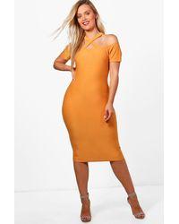 Boohoo Orange Plus Jenna Strappy Neck Midi Bodycon Dress
