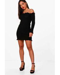Boohoo Black Ruffle Knitted Mini Dress