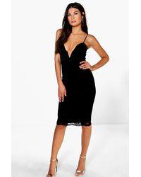 Boohoo - Black Uma Plunge Neck Detail Lace Skirt Midi Dress - Lyst