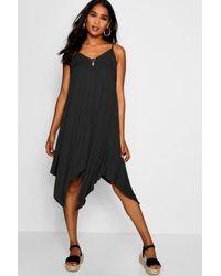 Boohoo Black Jen Asymmetric Nem Strappy Swing Dress