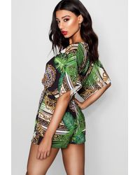 Boohoo Black Jungle Scarf Print Kimono Sleeve Romper