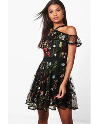 Boohoo - Black Boutique Ria Organza Ruffle Skater Dress - Lyst