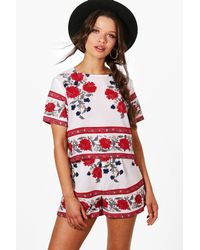 Boohoo Red Nina Boarder Print Crop & Short Co-ord Set