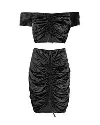 Boohoo Black Georgia Velvet Ruched Crop And Skirt Set