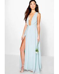 Boohoo Blue Wrap Front Chiffon Maxi Dress