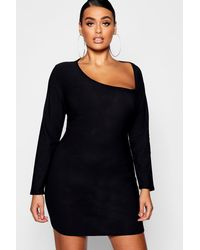 Boohoo Black Plus Asymmetric Neck Detail Bodycon Dress