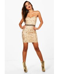 Boohoo Metallic Boutique Embroidered Bodycon Dress