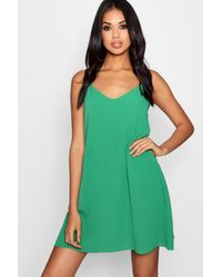 Boohoo Green Plunge Front Woven Cami Dress
