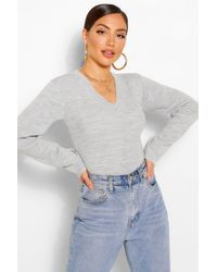 Boohoo Gray V Neck Rib Knit One Piece