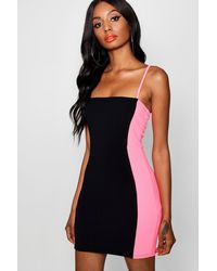 Boohoo - Black Neon Contrast Panelling Bodycon Dress - Lyst