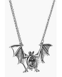 Boohoo - Metallic Aleena Halloween Bat Pendant Necklace - Lyst