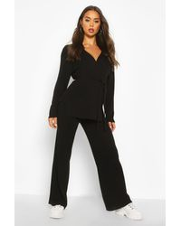 Boohoo Black Womens Wrap Knitted Premium Knitted Set