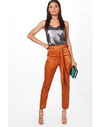 Boohoo - Orange Luna Tie Waist Slimline Luxe Trousers - Lyst