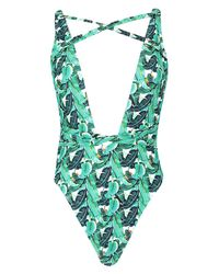 Boohoo Green Tropical Leaf Strappy Plunge Swimsuit