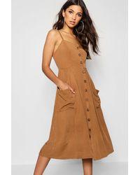 Robe Midaxi À Poche Avant Boutonnée Boohoo en coloris Brown