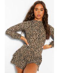 Mono Corto Tipo Blusón Con Estampado De Leopardo Boohoo de color Multicolor