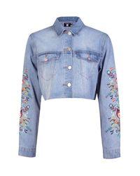 Boohoo Blue Floral Embroidered Cut Off Denim Jacket