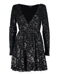 Boohoo - Black Boutique Sequin Wrap Skater Dress - Lyst