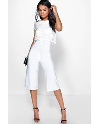 1ea7c5b48b1d Boohoo Lace Overlay Culottes Jumpsuit in White - Lyst