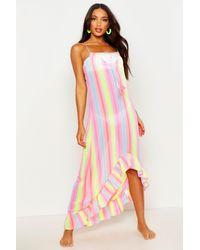 Boohoo Pink Rainbow Stripe Eclipse Hem Maxi Dress