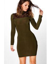 Boohoo Green Rita Mesh Front Roll Neck Bodycon Dress