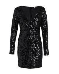 Boohoo Black Boutique Sequin Wrap Bodycon Dress