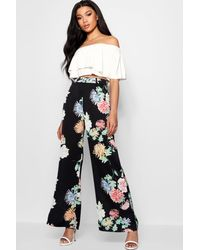 Boohoo Premium Oriental Floral Wide Leg Trouser in Black - Lyst 99ddaf2de