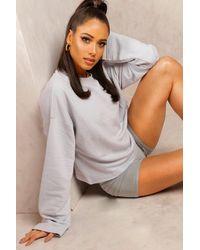 Boohoo Gray Womens Mix & Match Edition Kurzer Pullover