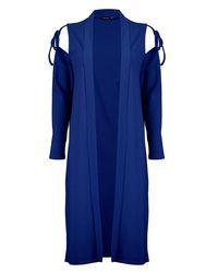 Boohoo Blue Jasmine Tie Sleeve Cold Shoulder Duster