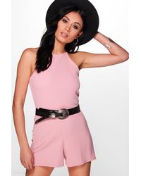 Boohoo Pink Kellie High Neck Playsuit