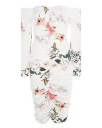 Boohoo - Multicolor Fiona Floral Off Shoulder Midi Dress - Lyst