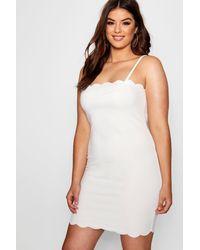 Boohoo White Plus Scallop Edge Bodycon Dress