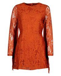 Boohoo Orange Tassel Sleeve Lace Shift Dress