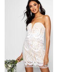 Boohoo White Boutique Eyelash Lace Bodycon Dress