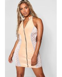 Boohoo Multicolor Zip Through Cut Out Dress