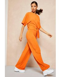 Boohoo Orange Womens Recycled Batwing Detail Top & Pants Two-piece