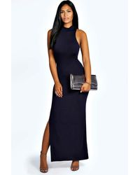 Boohoo Blue Womens Turtle Neck Cut Out Back Detail Maxi Dress - Navy - 10